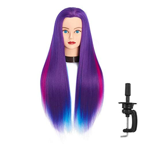 """Headfix 26""""-28"""" Long Hair Mannequin Head Stnthetic Fiber Hair Hairdresser Practice Styling Training Head Cosmetology Manikin Doll Head With Clamp (6F1919WP0320)"""