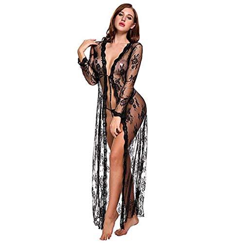Lenceria para Mujeres 2019 Nuevo SHOBDW Pareos Casual Color Sólido Cover Up Transparentes Sexy Pijamas Encaje Vestido Largo Cardigans Mujer Kimono(Negro,M)