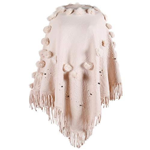 Madmoon Damen Eleganter Bequemer Damen Poncho Pullover mit Chevronstreifen und Fransen Warmer Mehrweg-Ausschnitt und Süßen Bommeln Cape für Frauen aus Strickmaterial mit Zierfransen