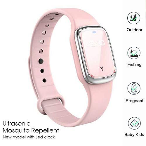 Ultrasonic Mosquito Bracelets Non-Toxic USB Electronic Mosquito Repellent Bracelets Insect Repeller Wristband Waterproof Time Clock Watch Bracelet for Baby Kids Adults Older (Pink)