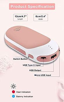 Awroutdoor Chauffe-Mains Rechargeable,9000 mAh USB Chaufferette Main Poche Réutilisable Électrique Portable Power Bank Batterie pour iphone,Samsung,ipad,Chaufferette pour Hommes Femmes