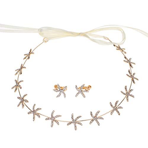 Beaupretty diadema de boda pendientes de diadema de estrella de mar accesorios para el cabello nupcial para fiesta de bodas despedida de soltera (dorado)