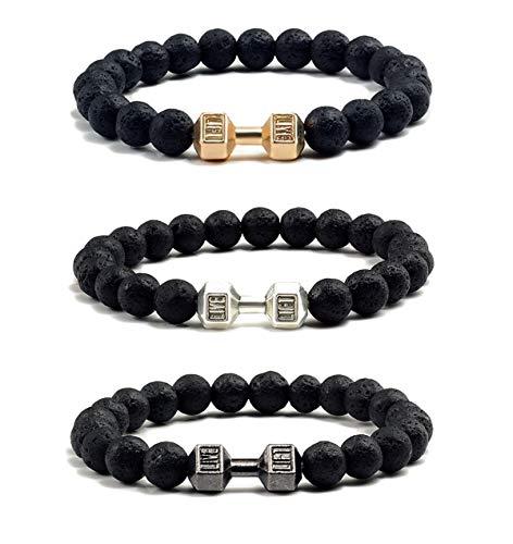 VANGOT 3Pcs Dumbbell Beaded Bracelets for Men Women Lava Stone Bracelet Set Elastic