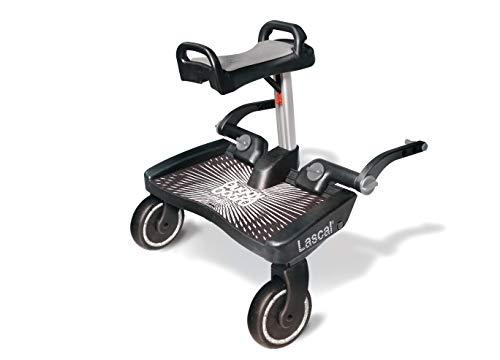 Lascal BuggyBoard Maxi+, Kinderbuggy Trittbrett mit großer Stehfläche und Saddle, Kinderwagen Zubehör für Kinder von 2-6 Jahren (22 kg), kompatibel mit fast jedem Buggy und Kinderwagen, schwarz