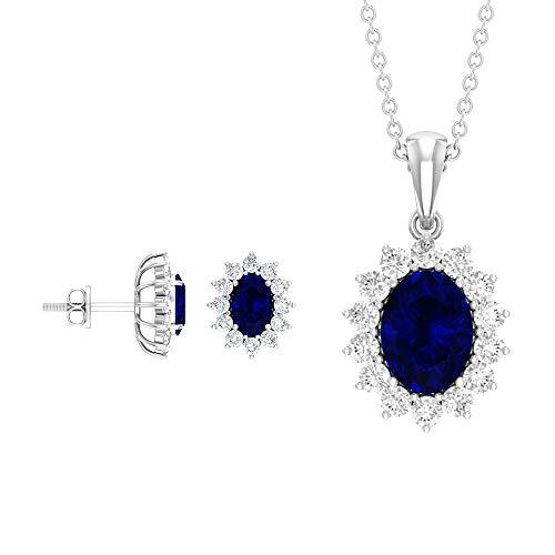 Juego de collar de pendientes de zafiro azul de 3,78 quilates, corte ovalado azul, juego de joyas, halo de diamante, 18K Oro blanco Con cadena