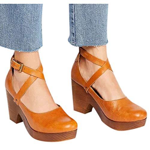Damesschoenen met retro plateauzool voor dames, Mary Jane-schoenen met gesloten teen, gekruiste enkelbandjes met hoge hakken, pumps, sandalen