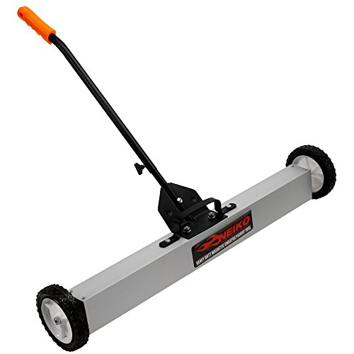 NEIKO 53416A 24' Magnetic Pick-Up Sweeper with Wheels   30 Lbs   Adjustable Handle & Floor Magnet Clearance