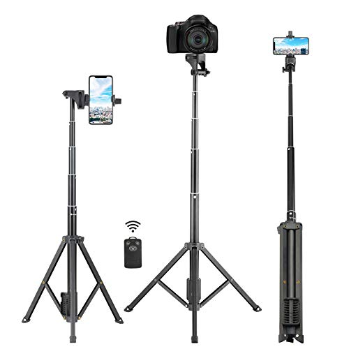 Selfie Stick Tripod, Eocean 54'' Extendable Selfie Stick with iPhone Tripod Stand & Wireless Remote, Compatible with iPhone 12 11 Pro Max X 8 7 6/Android, Perfect for Live Stream/Vlog, Lightweight