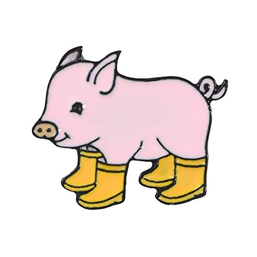U-K Broches Kawaii Cartoon Pig Rain Boots Animal Aleación Esmalte Broche Pin Fiesta Insignia de regaloDiseño Profesional