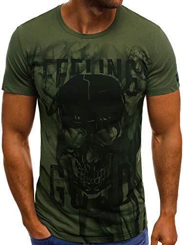 OZONEE Herren T-Shirt T Shirt Tshirt Kurzarm Kurzarmshirt Tee Top Sport Sportswear Rundhals U-Neck Rundhalsausschnitt Aufdruck Motiv Print MECH/2074T Khaki M