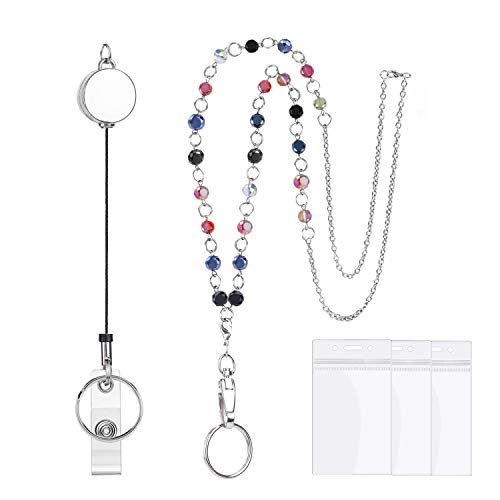 HIFOT Lanyard for ID Badge Retractable Badge Reel for Women, Fashion Beaded Lanyard Chain Necklace ID Badge Holder and Breakaway Key Chain with 3 Pieces Name Badge Holder Clip