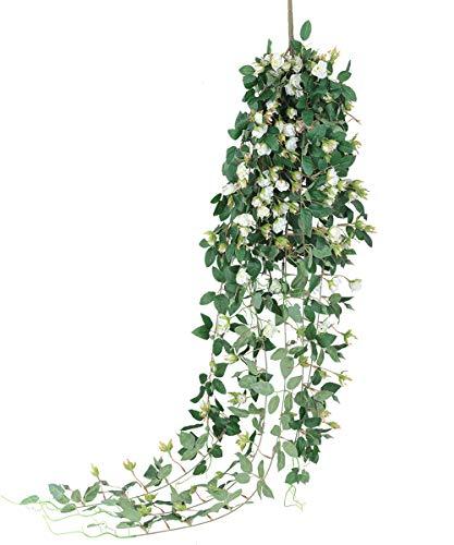 Tifuly 1 Pack künstliche Rosen Rebe, 5FT Lange hängende gefälschte Rosen mit grünen Blättern Efeu Wandpflanzen Girlande für Home Room Garden Hochzeit Restaurant Dekoration(Weiß)