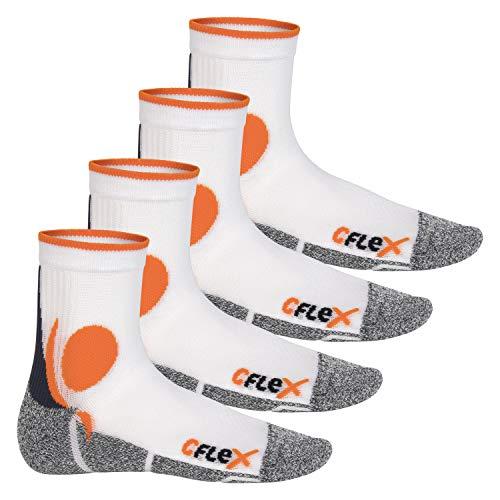 CFLEX Damen und Herren Running Funktions-Socken (4 Paar) Laufsocken - Weiss-Orange 43-46