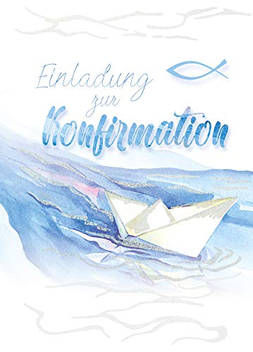 5 x Einladungskarten Konfirmation von KE - Einladung - Konfirmationseinladungen - Für Jungen & Mädchen - Mit Glitzer -DIN C6-5er Set Klappkarten inkl. Innentext & Umschläge - Motiv Boot_E