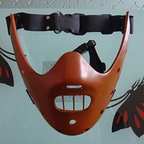 JUANstore Maschera di Protezione Mezza Maschera di Halloween Maschera La Purga Mask Silenzio degli Innocenti Maschere Hannibal Lecter Resina Masquerade Cosplay Dance Party Props metà,Rosso