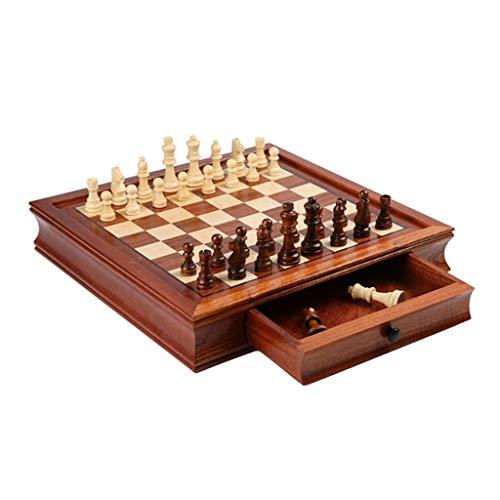 Schachspiel Holz Hochwertig Grob, Schachbrett Magnetisch Schachfiguren Holz Grob, Schach Set für Erwachsene Schach Spiele, Geschenke für Kinder und Teenager, 2 Größen (Size : Medium)