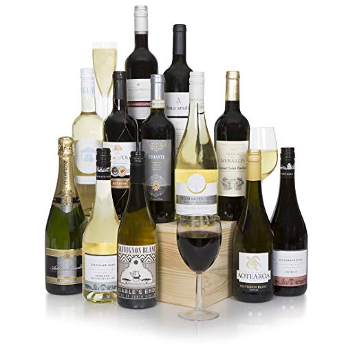 The Grand Wine Hamper - Fine Wine Case - Mixed Twelve Wine Bottle Selection with Champagne - Fine & Vintage Wines - Wine Hampers