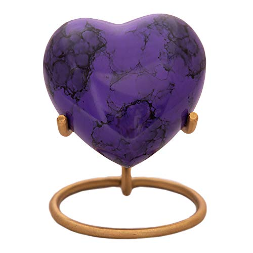 Purple Heart Keepsake Urn - Mini Ash Urn with Free Premium Velvet Box & Display Stand - Small Handcrafted Cremation Urn for Ashes - Tribute to Your Loved One - Perfect for Adults & Infants