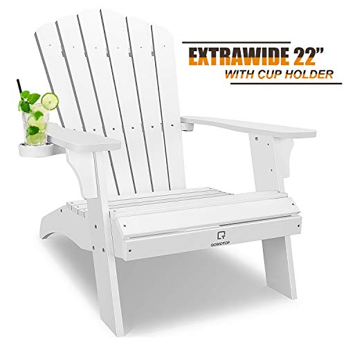 OT QOMOTOP White Adirondack Chair with Cup Holder Now $152
