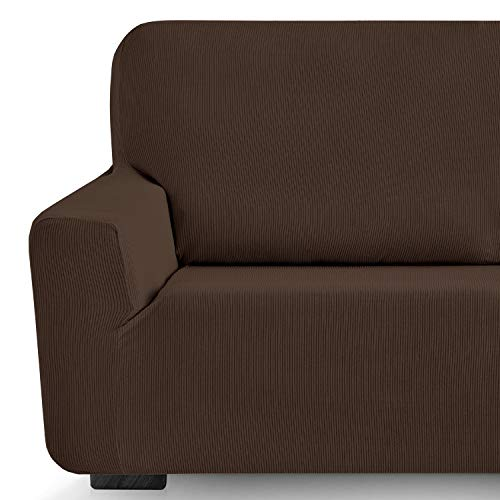 Eiffel Textile Funda de Sofa Milan Elastica Adaptable Lisa, 94% poliéster 6% Elastano, Marrón, 1 Plaza (70-110 cm)