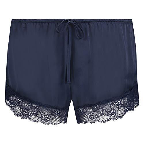 HUNKEMÖLLER Damen Pyjama-Shorts aus Spitze und Satin Blau XS