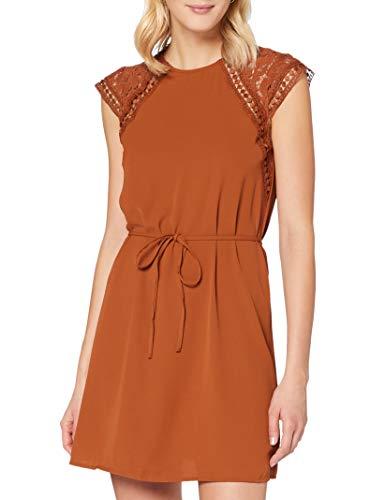 ONLY Damen ONLFELICIA Capsleeve Dress WVN Kleid, Ginger Bread, XL