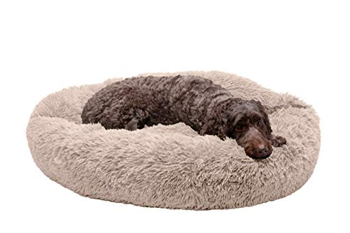 Furhaven Pet Dog Bed - Round Plush Long Faux Fur Ultra Calming Deep Sleep Soothing Cushion Cuddler Donut Pet Bed with Removable Cover for Dogs and Cats, Taupe, Large