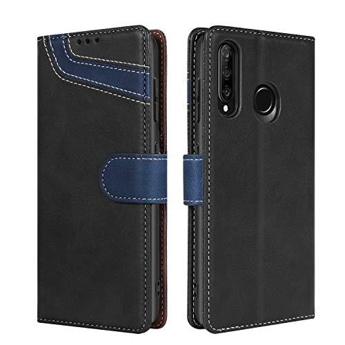 BENTOBEN Huawei P30 Lite - Funda de piel para Huawei P30 Lite, con cierre magnético, función atril, tarjetero, color negro y azul