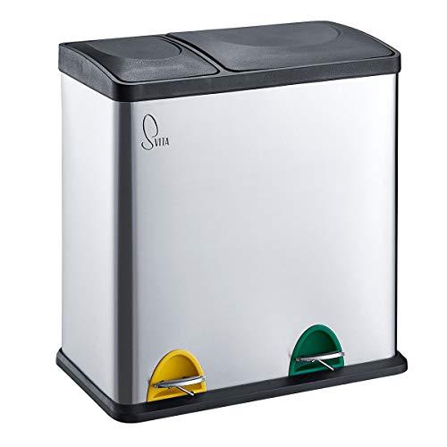 SVITA TC2Combo35 Küchen-Eimer 35Liter kombiniert (12L+23L) Edelstahl doppelt Abfalleimer 2er-Mülleimer Mülltrennung Treteimer