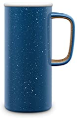 Perfect for the Commute: 16 oz vacuum insulated stainless steel travel mug designed to keep drinks cold up to 10 hours and hot for 5 hours. Enjoy this stainless steel mug that is car cup friendly and completely leak-proof. Comfy Carry Handle: Conveni...