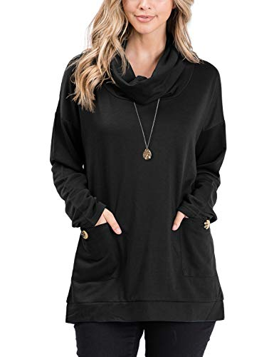 Doublju Women's Long Sleeve Cowl Neck with Pocket and Button Detail Tunic Top Black X-Large