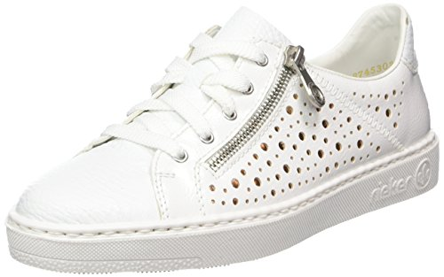 Rieker Damen M7928 Low-top, Weiß (weiss/bianco/Bronze), 40 EU