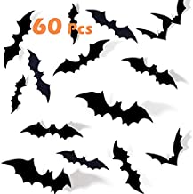 Halloween Bats Decoration 60 Pcs 3D PVC Paper Bats for Wall Decor Scary DIY Flying Bats Stickers , Halloween Eve Decor Home Window Decoration Set