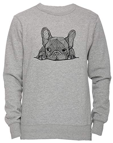 francés Buldog Perrito Unisexo Hombre Mujer Sudadera Jersey Pullover Gris...