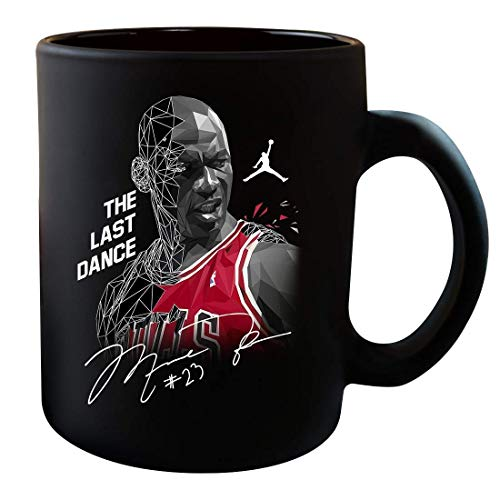N\A Michaels The-Last Dance Disfraz de Baloncesto Regalos para fanáticos Amantes Jordans Taza gráfica firmada Taza Tazas de café Tazas de té (Negro)