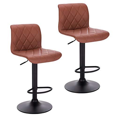 Lestarain 2 x Sgabelli da Bar Moderni Sedia Alta Girevole da Cucina in Ecopelle Sgabello Alto con Poggiapiedi Altezza Regolabile Marrone Chiaro LBAI55004-2