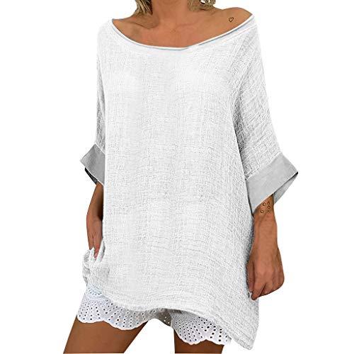 Topkal – Blusa de mujer para primavera y verano, cómoda, informal, de lino, cuello redondo, diseño informal Blanco S