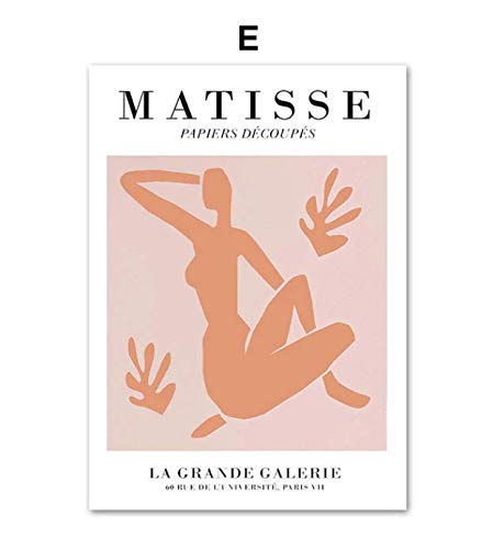 Matisse hoja verde abstracta chica curva arte de la pared lienzo pintura carteles nórdicos e impresiones cuadros de pared para decoración de sala de estar 40 × 60 sin marco