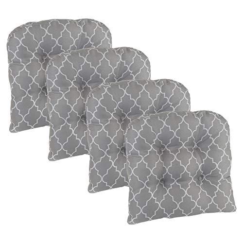 Klear Vu Trellis Universal Non-Slip Overstuffed Geometric Dining Chair Cushion, Set of 4, Gray