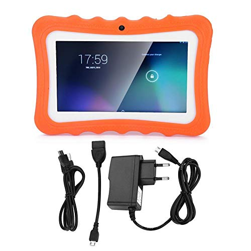 Tablet PC para niños, Tablet PC para educación temprana 512M Ram 300 mil píxeles Cámara Frontal Vida útil(Orange, European regulations)