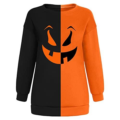 SMKY Sweatshirt Damen Frauen Halloween Horror 3D Kürbis Fledermaus Print Party Langarm Pullover Sweatshirt