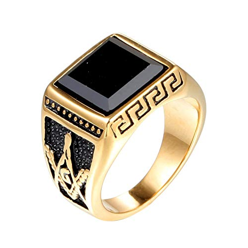 TYJKL Punk Ring Simple Titanium Steel Men's Vintage Gem Punk Creative Personality Ring Perfect For Any Gift Giving Occasion (Color : Gold, Size : 11)