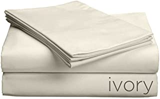 Gotcha Covered Luxe Collection Queen Size 100 Percent Combed Cotton Sateen 618 Thread Count Bed Sheet Set with Smarty-Bandzz - Deep Profile Up to 18 in. Ivory