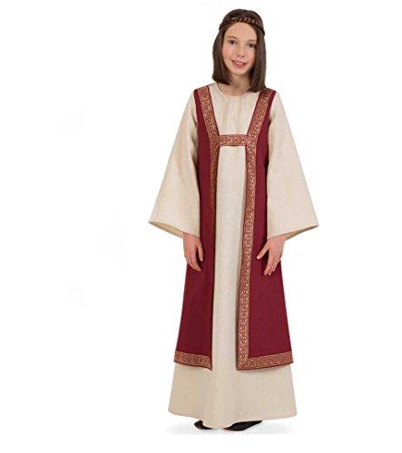 KarnevalsTeufel Kleid Burgund Kinder-Kostüm Mittelalter-Mädchen-Kleid (140)