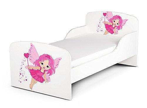 Leomark Letto per bambini in legno, lettino con materasso, magnifiche stampe, spazio per dormire 140x70 cm, mobili per bambini, rete a doghe, atrezzatura stanza per bambino, motivo: Piccola Fata