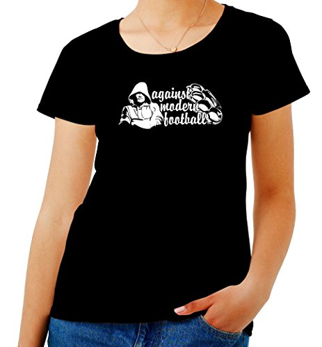 T-Shirt para Las Mujeres Negro T0370 Against Modern Football Calcio Ultras