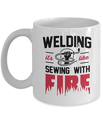Price comparison product image Welder Coffee Mug,  Funny Gift for Welder - Welding It's Like Sewing With Fire Miller Welders,  Mig Welder,  Tig Welding,  Welding Machine,  Welder Dad Cof