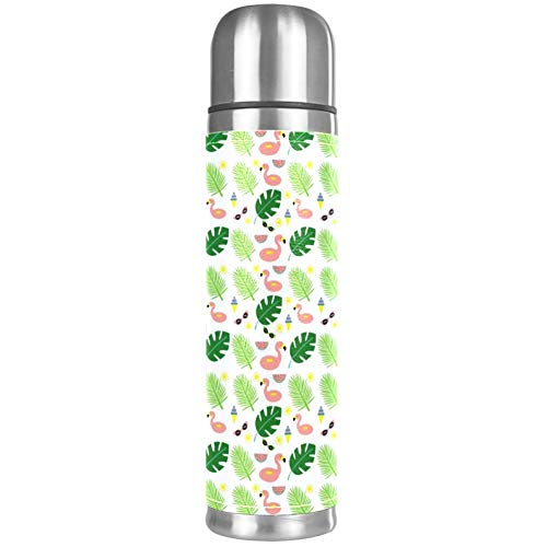 Flamingo Leaf Cartoon Pink Beverage Bottle, Stainless Steel Double Walled Vacuum Insulated with Leak Proof, Water Bottle Best Gift for Your Children 16.9oz