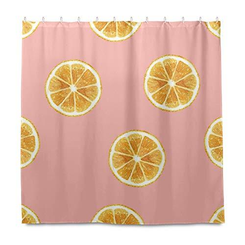 RELEESSS Duschvorhang Obst Zitrone Wasserdicht Badezimmer Gardinen mit Haken 182 x 182 cm
