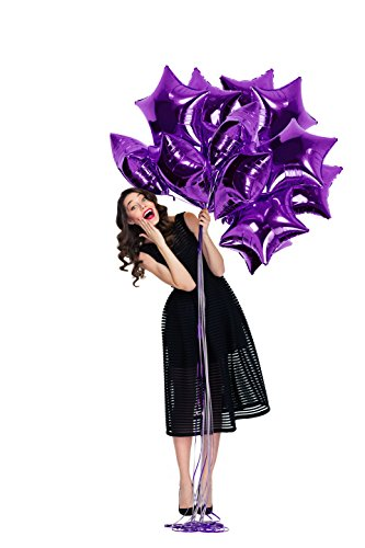 Purple Star Balloons 18 Inch Pack of 12 Premium Foil Star Shaped Balloons for Baby and Bridal Shower Gender Reveal Sweet 16 1st Birthday Party Decorations